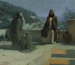 Nikodem i Jezus na dachu