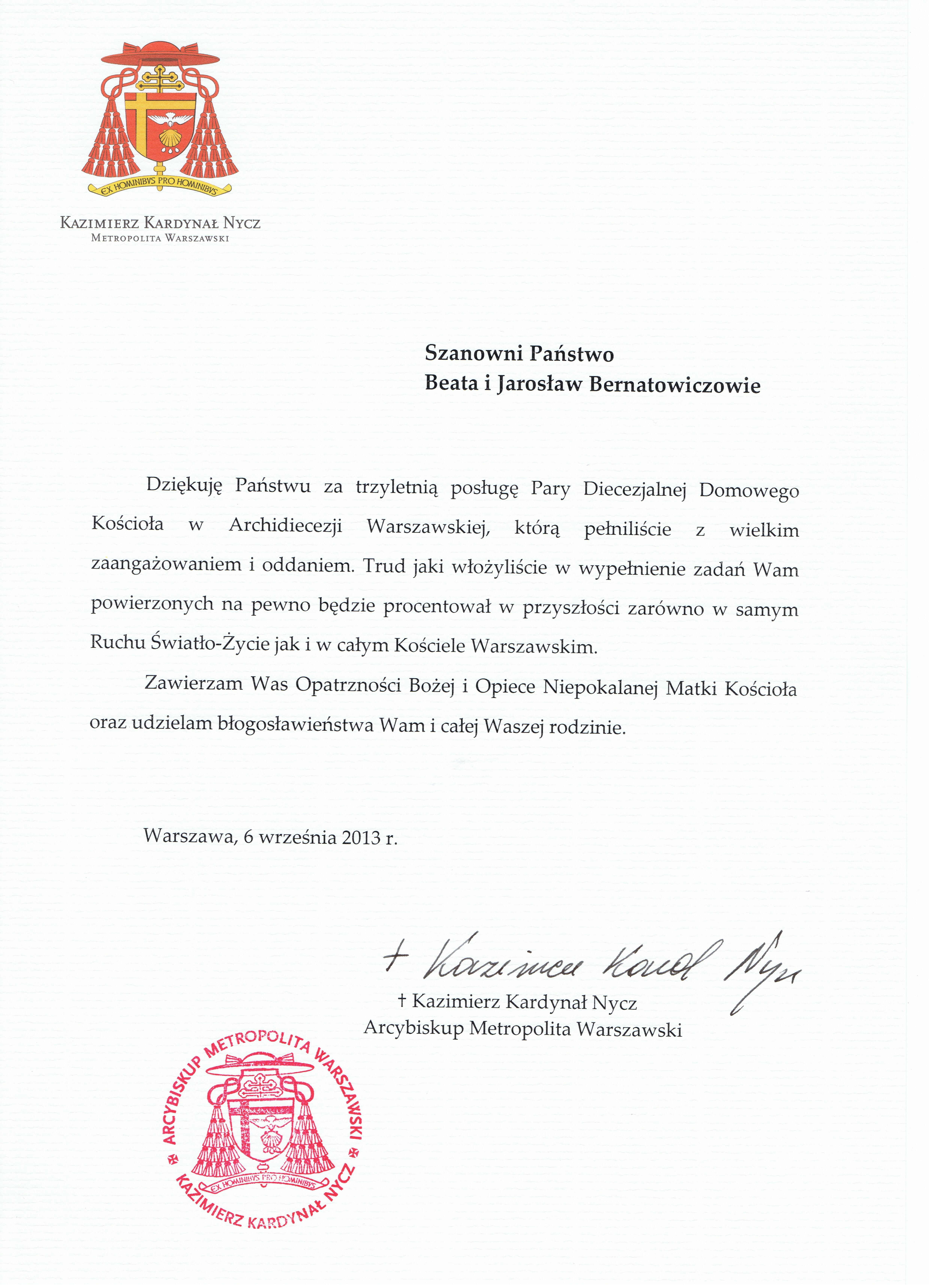 2013 podziekowania Bernatowicz
