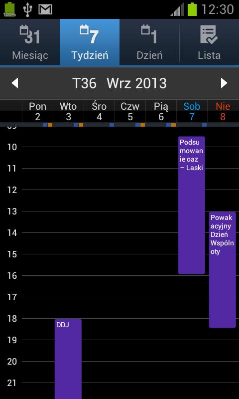 Kalendarz oazowy w telefonie